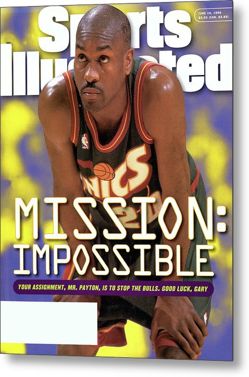 Playoffs Metal Print featuring the photograph Seattle Supersonics Gary Payton, 1996 Nba Western Sports Illustrated Cover by Sports Illustrated