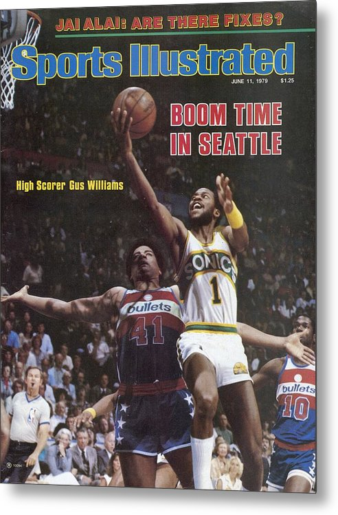 Playoffs Metal Print featuring the photograph Seattle Supersonics Gus Williams, 1979 Nba Finals Sports Illustrated Cover by Sports Illustrated
