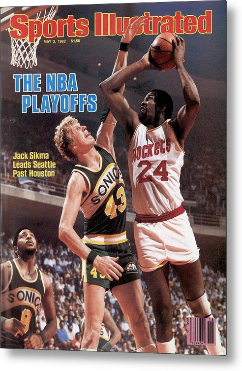 Playoffs Metal Print featuring the photograph Seattle Supersonics Jack Sikma, 1982 Nba Western Conference Sports Illustrated Cover by Sports Illustrated