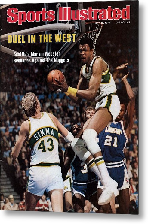 Playoffs Metal Print featuring the photograph Seattle Supersonics Marvin Webster, 1978 Nba Western Sports Illustrated Cover by Sports Illustrated