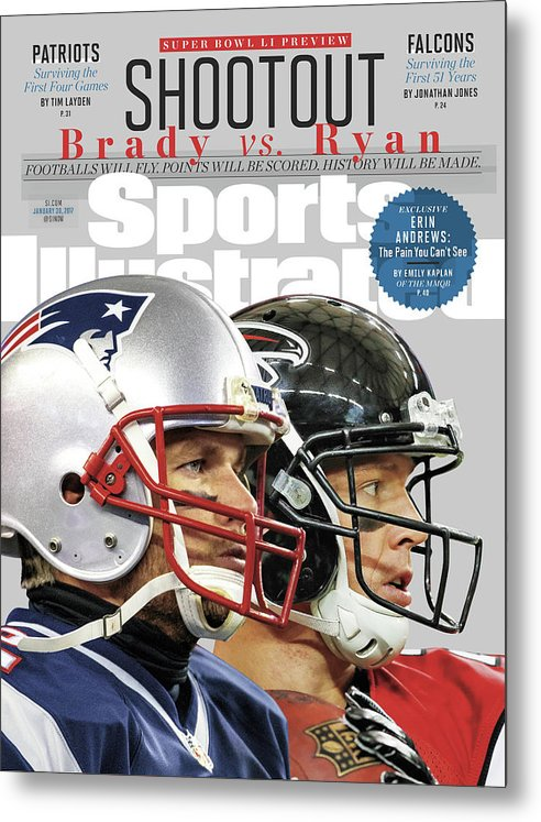 Playoffs Metal Print featuring the photograph Shootout Super Bowl Li Preview Sports Illustrated Cover by Sports Illustrated