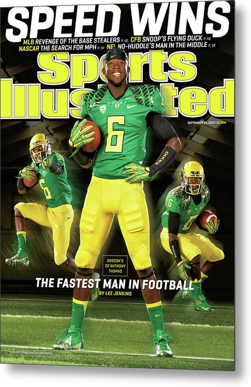 Magazine Cover Metal Print featuring the photograph Speed Wins Oregons Deanthony Thomas, The Fastest Man In Sports Illustrated Cover by Sports Illustrated