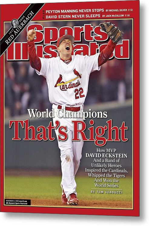 St. Louis Cardinals Metal Print featuring the photograph St. Louis Cardinals David Eckstein, 2006 World Series Sports Illustrated Cover by Sports Illustrated