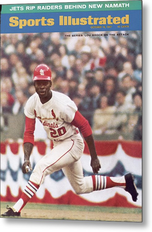 St. Louis Cardinals Metal Print featuring the photograph St. Louis Cardinals Lou Brock, 1967 World Series Sports Illustrated Cover by Sports Illustrated