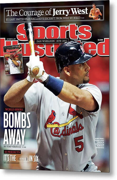 St. Louis Cardinals Metal Print featuring the photograph St Louis Cardinals V Milwaukee Brewers - Game 6 Sports Illustrated Cover by Sports Illustrated