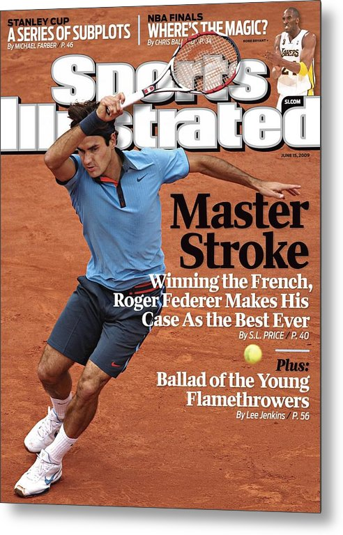 Tennis Metal Print featuring the photograph Switzerland Roger Federer, 2009 French Open Sports Illustrated Cover by Sports Illustrated