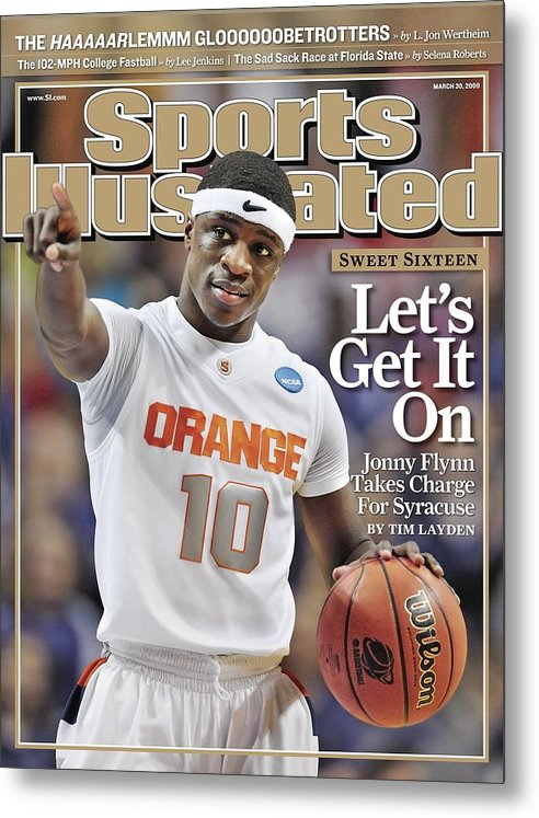 Playoffs Metal Print featuring the photograph Syracuse University Jonny Flynn, 2009 Ncaa South Regional Sports Illustrated Cover by Sports Illustrated