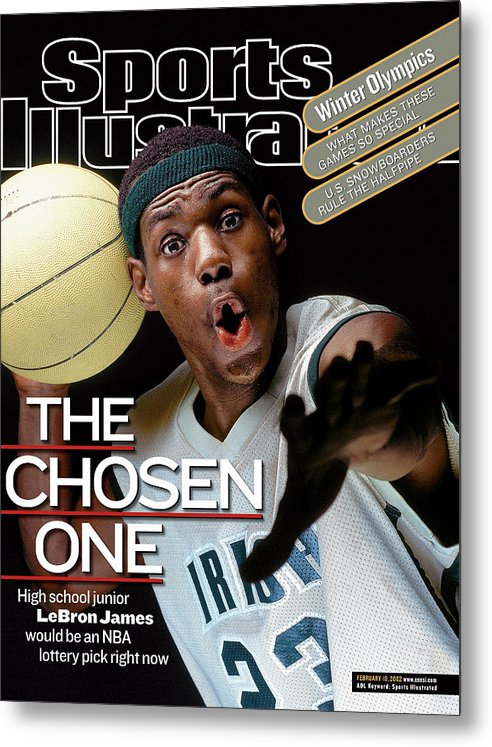 Magazine Cover Metal Print featuring the photograph The Chosen One St. Vincent-st. Mary High LeBron James Sports Illustrated Cover by Sports Illustrated