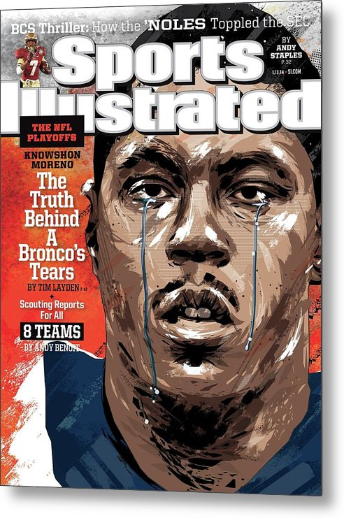 Magazine Cover Metal Print featuring the photograph The Nfl Playoffs Knowshon Moreno, The Truth Behind A Sports Illustrated Cover by Sports Illustrated