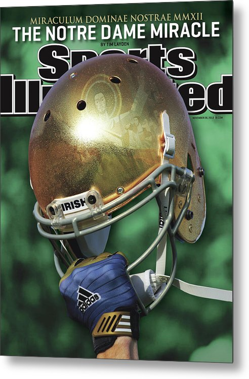Magazine Cover Metal Print featuring the photograph The Notre Dame Miracle Sports Illustrated Cover by Sports Illustrated