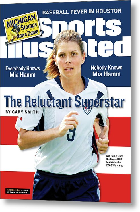 Magazine Cover Metal Print featuring the photograph The Reluctant Superstar Everybody Knows Mia Hamm, Nobody Sports Illustrated Cover by Sports Illustrated