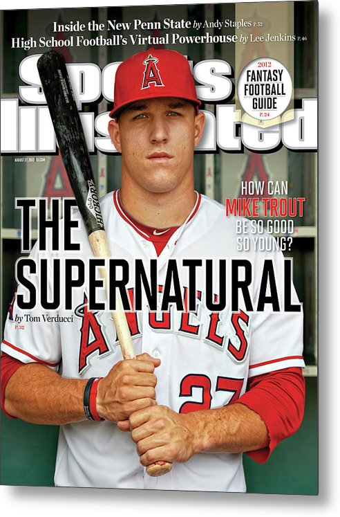 Magazine Cover Metal Print featuring the photograph The Supernatural How Can Mike Trout Be So Good So Young Sports Illustrated Cover by Sports Illustrated