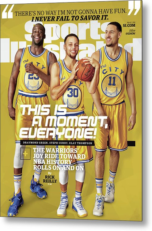 Point Guard Metal Print featuring the photograph This Is A Moment, Everyone The Warriors Joy Ride Toward Nba Sports Illustrated Cover by Sports Illustrated