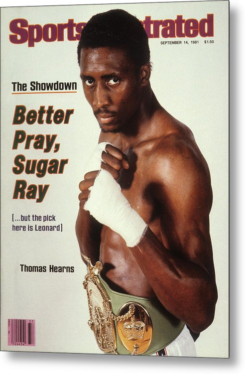 Magazine Cover Metal Print featuring the photograph Thomas Hearns, Welterweight Boxing Sports Illustrated Cover by Sports Illustrated