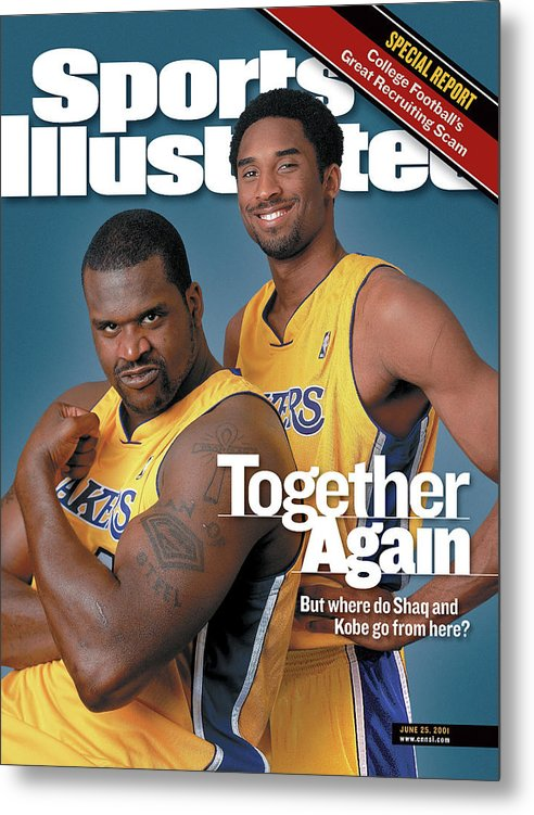 Nba Pro Basketball Metal Print featuring the photograph Together Again But Where Do Shaq And Kobe Go From Here Sports Illustrated Cover by Sports Illustrated