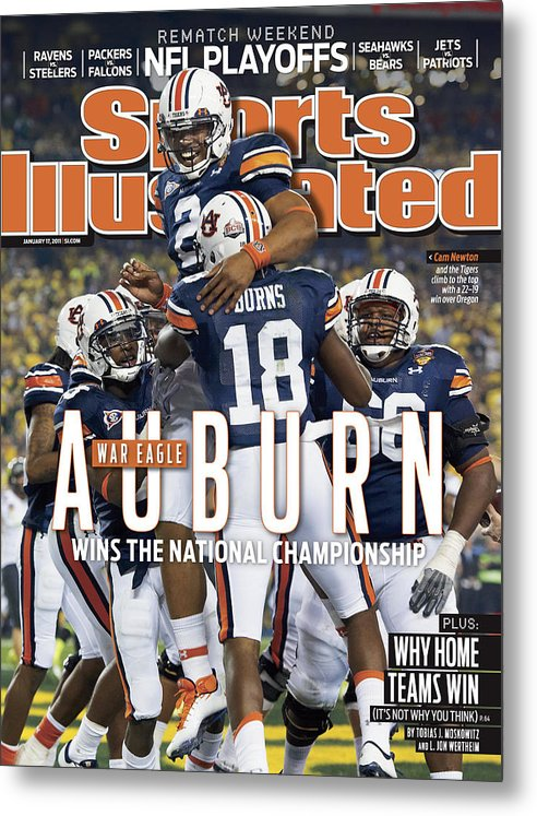 Magazine Cover Metal Print featuring the photograph Tostitos Bcs National Championship Game - Oregon V Auburn Sports Illustrated Cover by Sports Illustrated