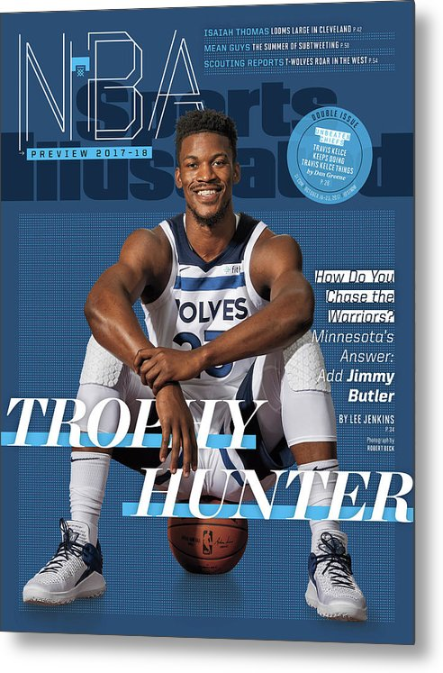 Magazine Cover Metal Print featuring the photograph Trophy Hunter 2017-18 Nba Basketball Preview Sports Illustrated Cover by Sports Illustrated