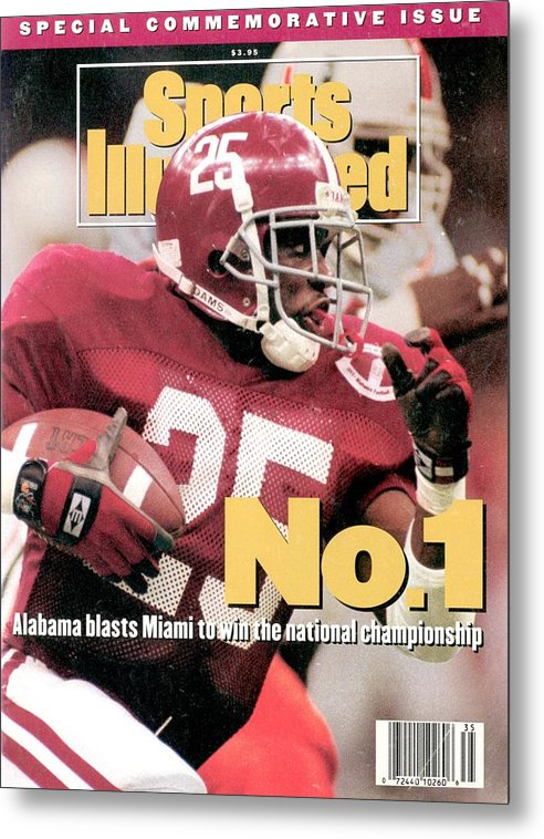 Magazine Cover Metal Print featuring the photograph University Of Alabama Derrick Lassic, 1993 Usf&g Financial Sports Illustrated Cover by Sports Illustrated