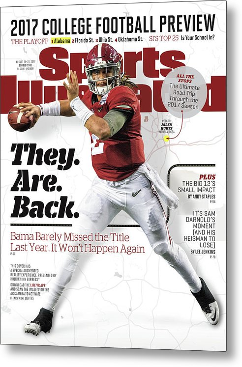 Atlanta Metal Print featuring the photograph University Of Alabama Jalen Hurts, 2017 College Football Sports Illustrated Cover by Sports Illustrated