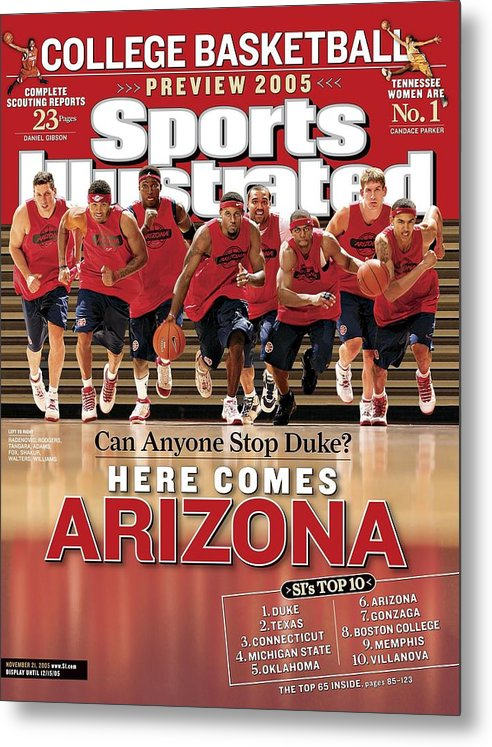 Mustafa Shakur Metal Print featuring the photograph University Of Arizona Basketball Team Sports Illustrated Cover by Sports Illustrated