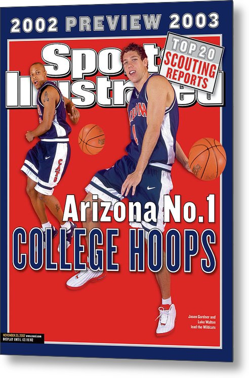 Season Metal Print featuring the photograph University Of Arizona Luke Walton And Jason Gardner Sports Illustrated Cover by Sports Illustrated