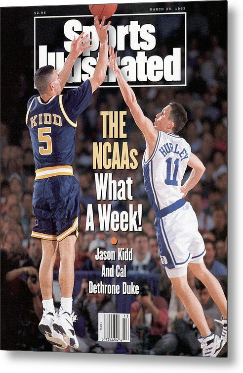 Playoffs Metal Print featuring the photograph University Of California Jason Kidd, 1993 Ncaa Midwest Sports Illustrated Cover by Sports Illustrated