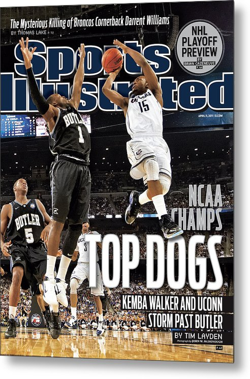 Kemba Walker Metal Print featuring the photograph University Of Connecticut Vs Butler University, 2011 Ncaa Sports Illustrated Cover by Sports Illustrated