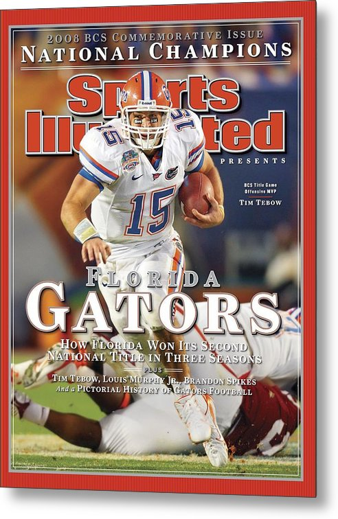 Hard Rock Stadium Metal Print featuring the photograph University Of Florida Florida Qb Tim Tebow, 2009 Fedex Bcs Sports Illustrated Cover by Sports Illustrated