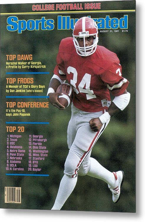 Magazine Cover Metal Print featuring the photograph University Of Georgia Herschel Walker Sports Illustrated Cover by Sports Illustrated