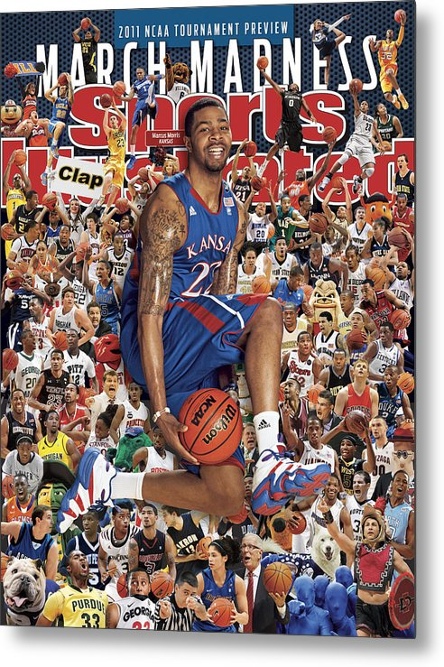 Magazine Cover Metal Print featuring the photograph University Of Kansas Marcus Morris, 2011 March Madness Sports Illustrated Cover by Sports Illustrated