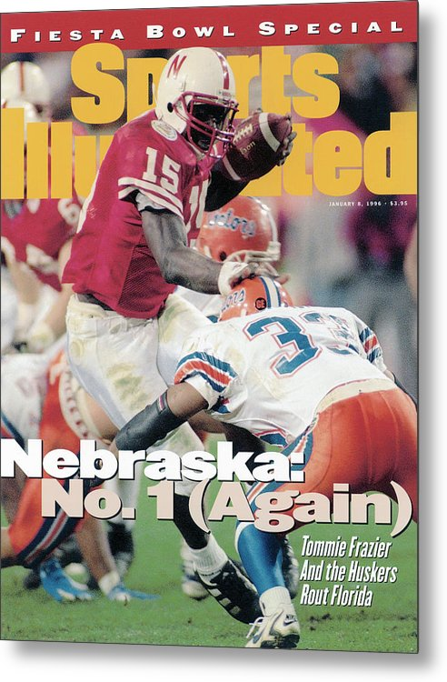 Celebration Metal Print featuring the photograph University Of Nebraska Qb Tommie Frazier, 1996 Tostitos Sports Illustrated Cover by Sports Illustrated
