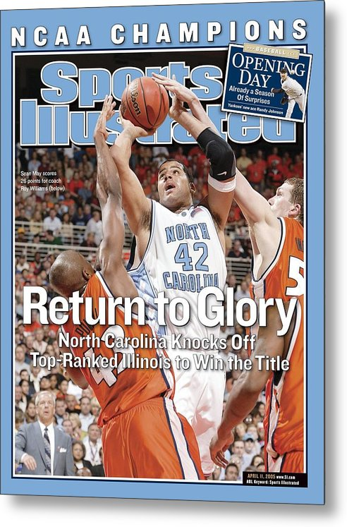 Roger Powell Jr. Metal Print featuring the photograph University Of North Carolina Sean May, 2005 Ncaa National Sports Illustrated Cover by Sports Illustrated