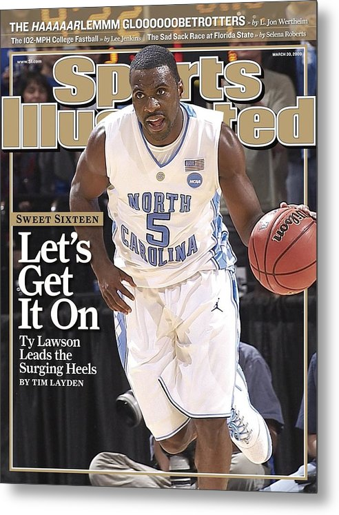 Playoffs Metal Print featuring the photograph University Of North Carolina Ty Lawson, 2009 Ncaa South Sports Illustrated Cover by Sports Illustrated
