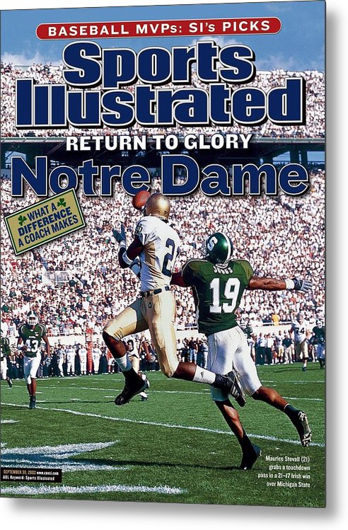 Michigan State University Metal Print featuring the photograph University Of Notre Dame Maurice Stovall Sports Illustrated Cover by Sports Illustrated