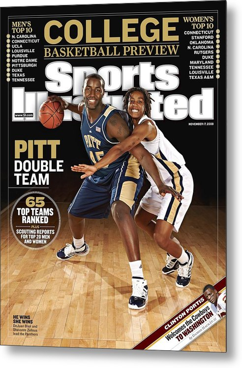 Event Metal Print featuring the photograph University Of Pittsburgh Dejuan Blair And Shavonte Zellous Sports Illustrated Cover by Sports Illustrated