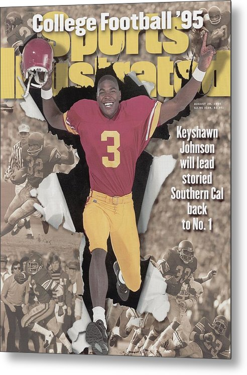 California Metal Print featuring the photograph University Of Southern California Keyshawn Johnson, 1995 Sports Illustrated Cover by Sports Illustrated