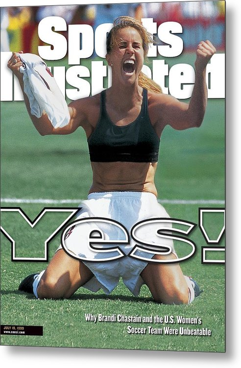 Magazine Cover Metal Print featuring the photograph Usa Brandi Chastain, 1999 Womens World Cup Final Sports Illustrated Cover by Sports Illustrated