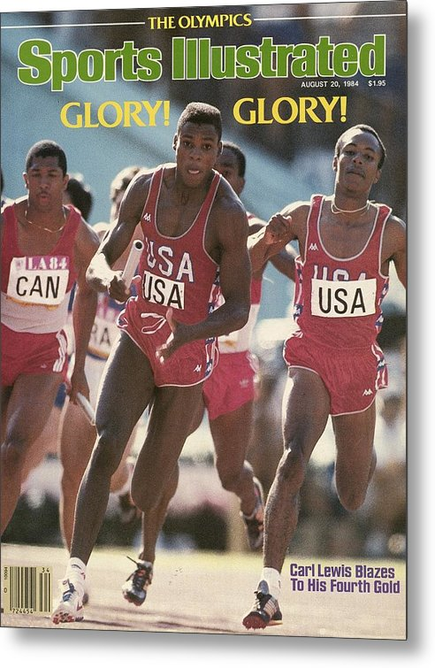 Magazine Cover Metal Print featuring the photograph Usa Carl Lewis, 1984 Summer Olympics Sports Illustrated Cover by Sports Illustrated