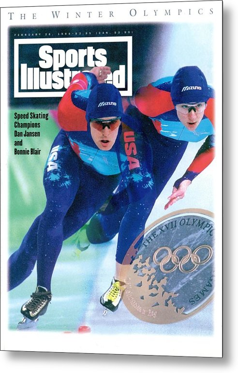 Magazine Cover Metal Print featuring the photograph Usa Dan Jansen And Bonnie Blair, 1994 Winter Olympics Sports Illustrated Cover by Sports Illustrated