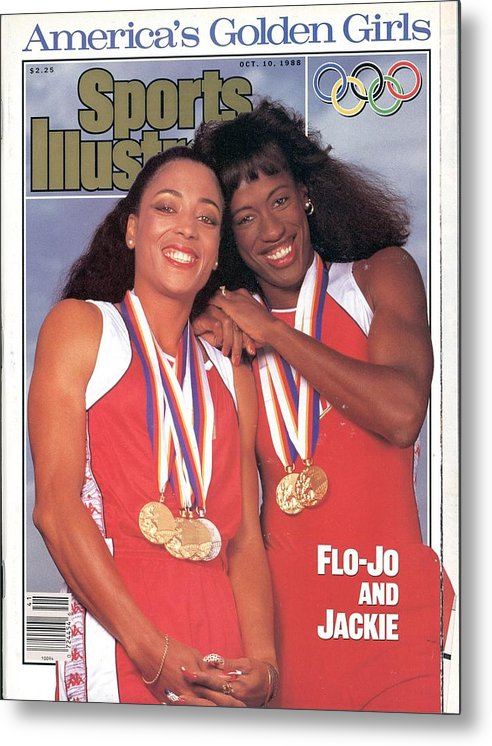 Magazine Cover Metal Print featuring the photograph Usa Florence Griffith-joyner And Jackie Joyner-kersee, 1988 Sports Illustrated Cover by Sports Illustrated
