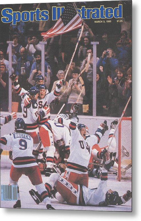 Magazine Cover Metal Print featuring the photograph Usa Hockey, 1980 Winter Olympics Sports Illustrated Cover by Sports Illustrated