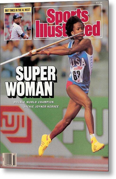 Magazine Cover Metal Print featuring the photograph Usa Jackie Joyner-kersee, 1987 Iaaf Athletics World Sports Illustrated Cover by Sports Illustrated