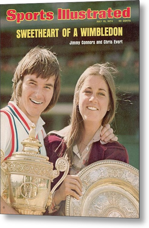 Magazine Cover Metal Print featuring the photograph Usa Jimmy Connors And Usa Chris Evert, 1974 Wimbledon Sports Illustrated Cover by Sports Illustrated