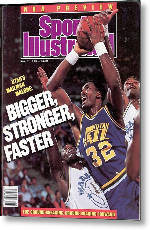 Ralph Sampson Metal Print featuring the photograph Utah Jazz Karl Malone, 1988 Nba Baseball Preview Sports Illustrated Cover by Sports Illustrated