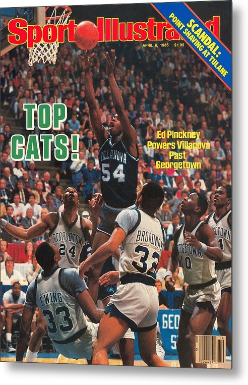1980-1989 Metal Print featuring the photograph Villanova University Ed Pinckney, 1985 Ncaa National Sports Illustrated Cover by Sports Illustrated