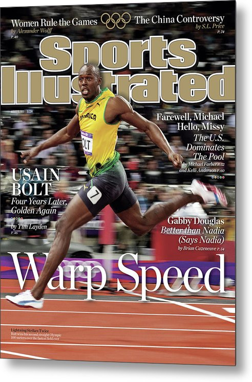 Magazine Cover Metal Print featuring the photograph Warp Speed 2012 Summer Olympics Sports Illustrated Cover by Sports Illustrated