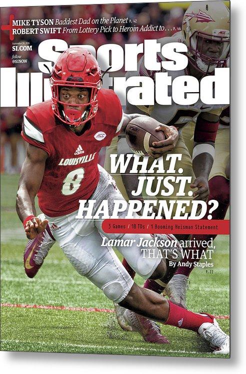 Sports Illustrated Metal Print featuring the photograph What. Just. Happened Lamar Jackson Arrived, Thats What Sports Illustrated Cover by Sports Illustrated