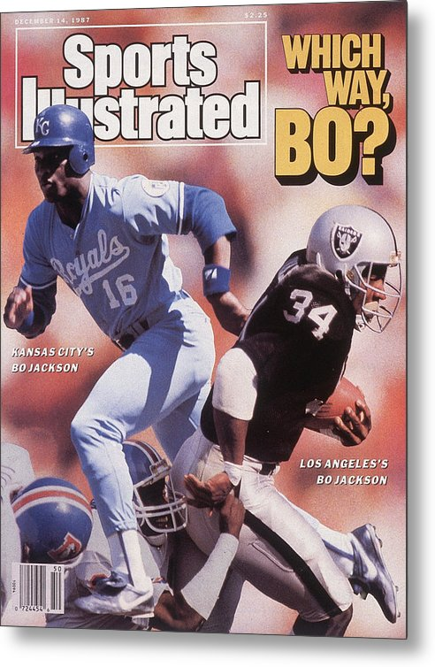 Magazine Cover Metal Print featuring the photograph Which Way Bo? Bo Jackson Of Kansas City Royals And Los Angeles Raiders Sports Illustrated Cover by Sports Illustrated