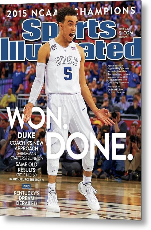 Magazine Cover Metal Print featuring the photograph Won. Done. 2015 Ncaa Champions Sports Illustrated Cover by Sports Illustrated