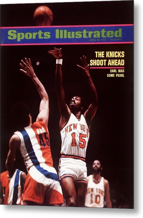 Magazine Cover Metal Print featuring the photograph New York Knicks Earl Monroe, 1973 Nba Eastern Conference Sports Illustrated Cover by Sports Illustrated